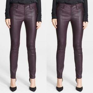 Vince Lambskin Leather Zip Detail Leggings Pants